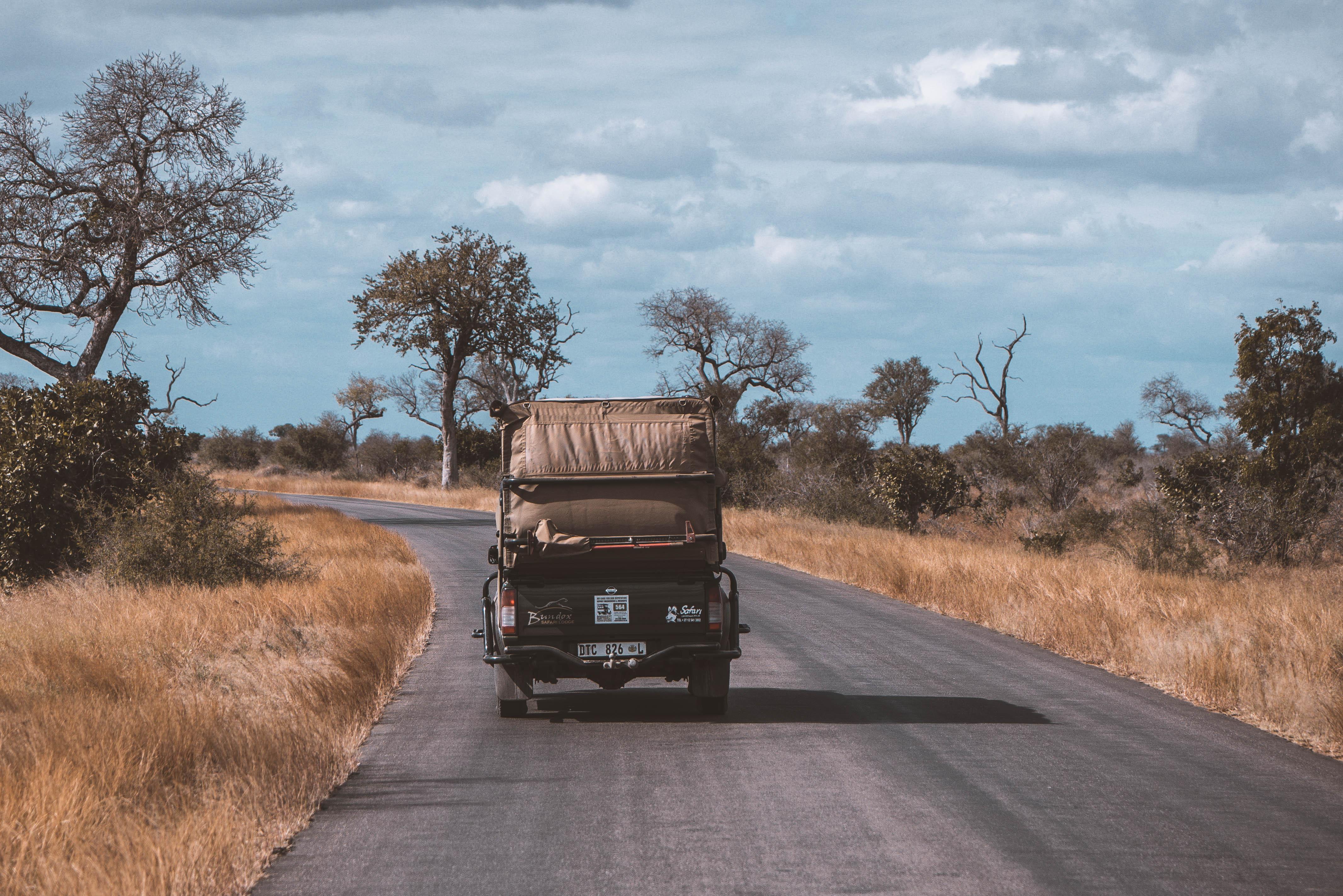rijden in het Kruger Nationaal Park