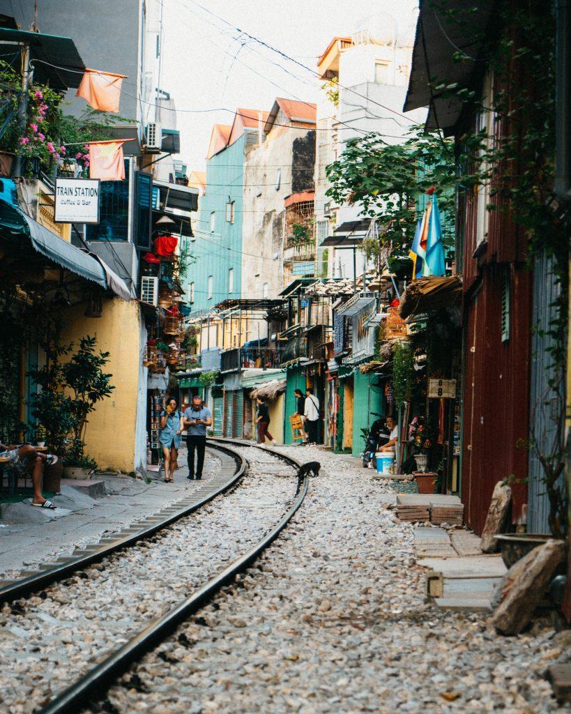 Het bekende trainstreet in Hanoi