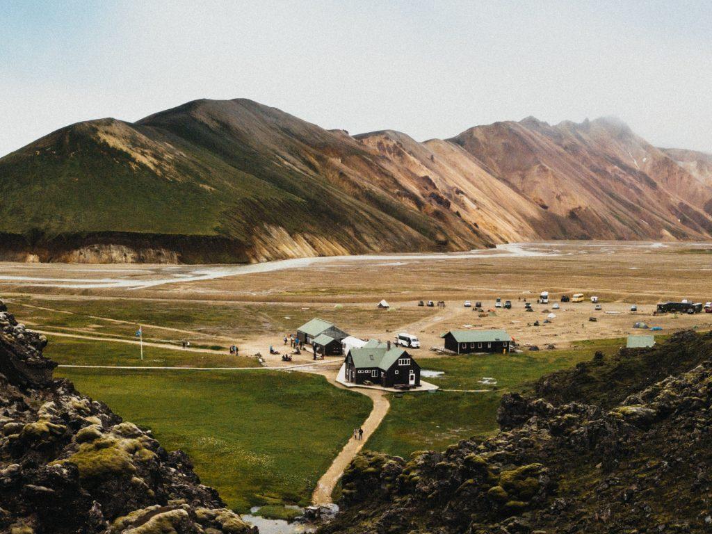 Het eerste kamp van Landmannalaugar IJsland